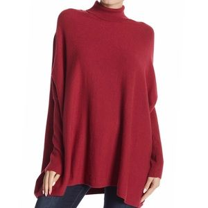 Joseph A Red Oversized Turtleneck Sweater Medium